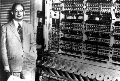 John von Neumann with one of his computers.